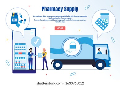Pharmacy Supply Trendy Flat Vector Web Banner, Landing Page Template. Pharmaceutical Company Supplier or Deliveryman Shipping Products to Drugstore, Pharmacist Ordering Goods Online Illustration