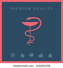 Pharmacy symbol medical snake and cup. Graphic elements for your design