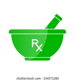Pharmacy symbol - mortar and pestle in green color. Pharmacy theme. Vector illustration.