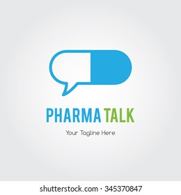 Pharmacy talk, medicine chat bubble ,drugstore logo,vector logo template.