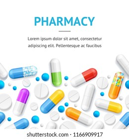 Pharmacy Therapy Flyer Banner Posters Card on a White for Promotion and Marketing. Vector illustration of Medicament