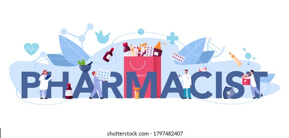 Pharmacy typographic header. Pharmacist holding a bag with pharmacy drug in bottle and box for disease treatment. Healthcare and medical treatment concept. Isolated vector illustration