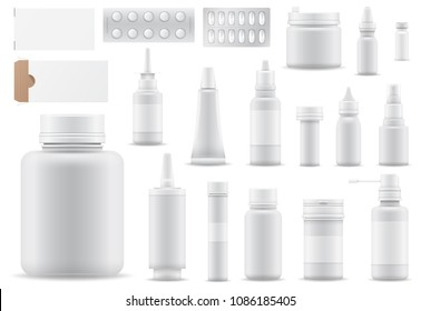 Pharmacy vector medicine drugs or pills in container or mockup bottle illustration medication or pharmaceutics set of medical treatment or healthcare isolated on white background