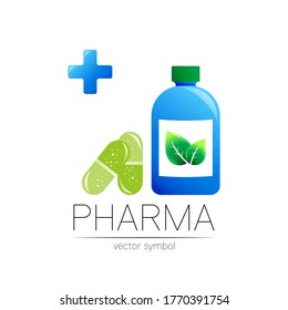Pharmacy vector symbol with blue bottle and cross in circle, green leaf, for pharmacist, pharma store, doctor and medicine. Modern design logo on white. Pharmaceutical icon logotype with pill capsule