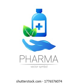 Pharmacy vector symbol with blue bottle and cross, green leaf on hand for pharmacist, pharma store, doctor and medicine. Modern design vector logo on white background. Pharmaceutical icon logotype .