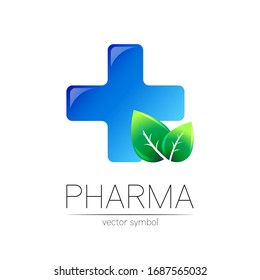 Pharmacy vector symbol with blue cross for pharmacist, pharma store, doctor and medicine. Modern design vector logo on white background. Pharmaceutical icon logotype with leaf. Health