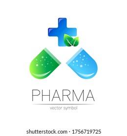 Pharmacy vector symbol with blue cross for pharmacist, pharma store, doctor and medicine. Modern design vector logo on white background. Pharmaceutical icon logotype tablet pill capsule. Health