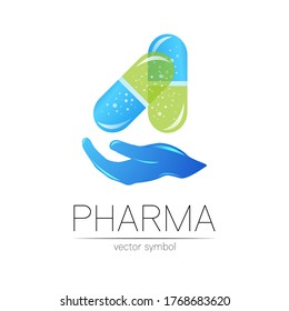 Pharmacy vector symbol with hand for pharmacist, pharma store, doctor and medicine. Modern design vector logo on white background. Pharmaceutical blue icon logotype tablet pill capsule with hand