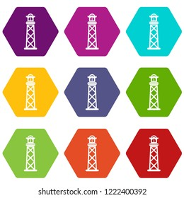 Pharos icons 9 set coloful isolated on white for web