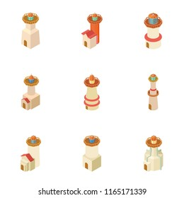 Pharos icons set. Isometric set of 9 pharos vector icons for web isolated on white background