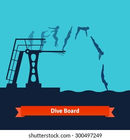 Phases of a man jumping from a dive board into the water. Flat style vector isolated illustration.
