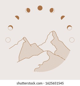 Phases of the Moon and mountain illustration. Flat simple line art illustration.  emblem, badge, logo for adventure, explorer, camping, moon.