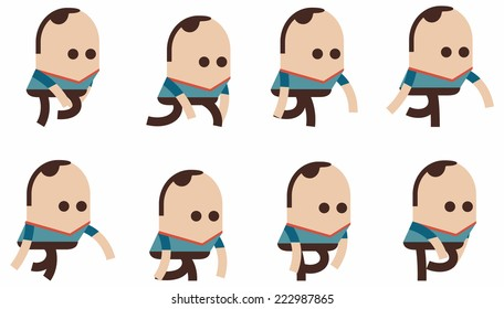 Phases of step movements cartoon in walking sequence for game animation, Cartoon character for animated sprite, illustrator Vector walking man cycle