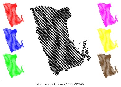 Phatthalung Province (Kingdom of Thailand, Siam, Provinces of Thailand) map vector illustration, scribble sketch Phatthalung map