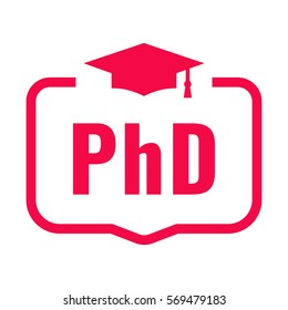PhD. Badge with graduation hat icon. Flat vector illustration on white background