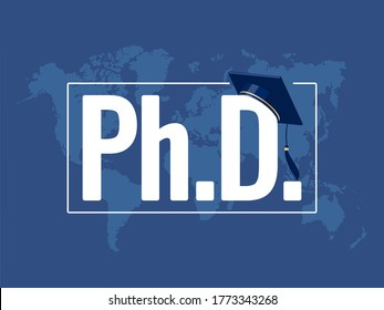 PhD degree symbol with graduation hat. Flat vector illustration on blue world map background. Good for university, institute, academy web site landing page, mobile application, template banner, poster