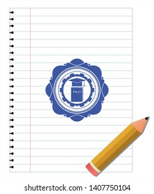 Phd thesis icon blue ink pen emblem. Vector Illustration. Detailed.