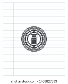 Phd thesis icon draw (pencil strokes). Vector Illustration. Detailed.