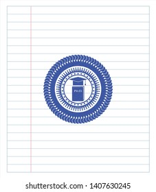 Phd thesis icon drawn with pen. Blue ink. Vector Illustration. Detailed.