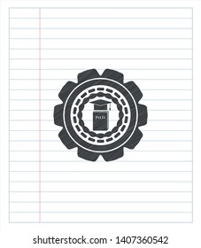 Phd thesis icon drawn in pencil. Vector Illustration. Detailed.