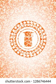Phd thesis icon inside abstract orange mosaic emblem