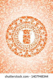 Phd thesis icon inside abstract orange mosaic emblem with background