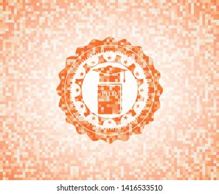 Phd thesis icon inside abstract emblem, orange mosaic background
