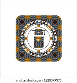 Phd thesis icon inside arabesque badge background. arabic decoration.