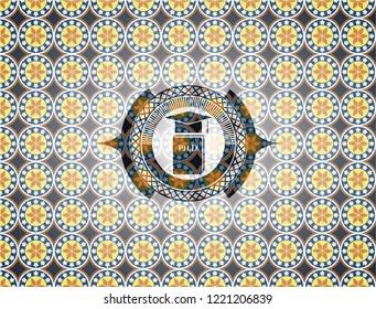 Phd thesis icon inside arabesque style badge. arabic decoration.