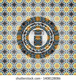 Phd thesis icon inside arabesque emblem. arabic decoration.