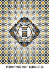 Phd thesis icon inside arabic emblem background. Arabesque decoration.