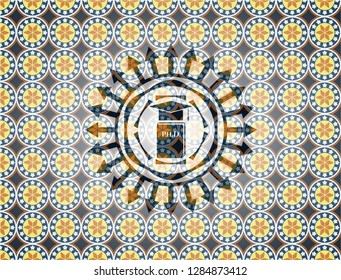 Phd thesis icon inside arabic badge. Arabesque decoration.