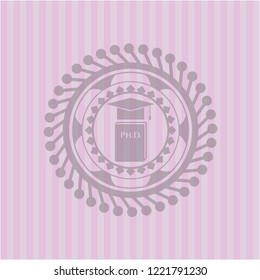 Phd thesis icon inside badge with pink background