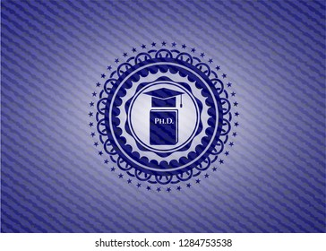 Phd thesis icon inside badge with jean texture