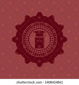 Phd thesis icon inside badge with red background
