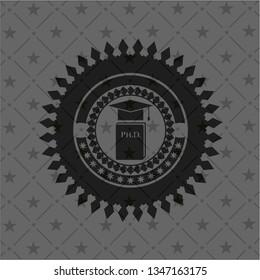 Phd thesis icon inside black emblem. Vintage.