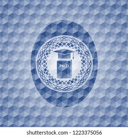 Phd thesis icon inside blue emblem or badge with abstract geometric pattern background.
