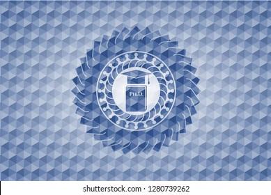Phd thesis icon inside blue hexagon emblem.