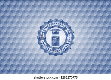 Phd thesis icon inside blue emblem with geometric pattern.