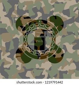 Phd thesis icon inside camo emblem