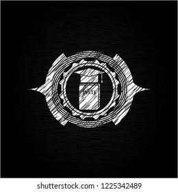Phd thesis icon inside chalkboard emblem on black board