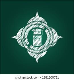 Phd thesis icon inside chalkboard emblem