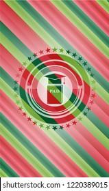 Phd thesis icon inside christmas emblem.