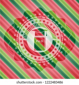 Phd thesis icon inside christmas colors badge.