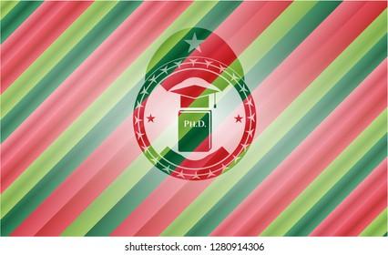 Phd thesis icon inside christmas badge.