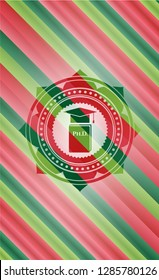 Phd thesis icon inside christmas emblem background.