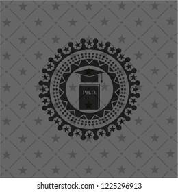 Phd thesis icon inside dark emblem. Retro