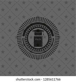 Phd thesis icon inside dark emblem