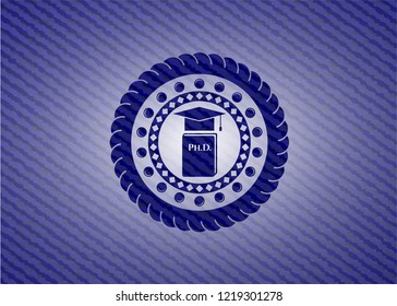 Phd thesis icon inside emblem with jean texture