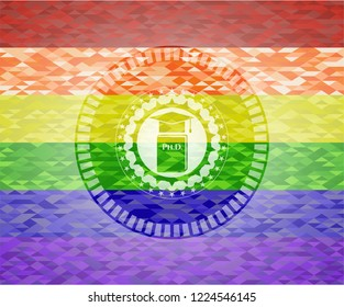 Phd thesis icon inside emblem on mosaic background with the colors of the LGBT flag